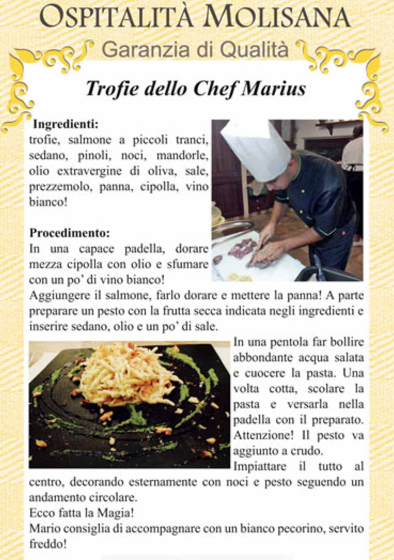 OSPITALITA' MOLISANA – Trofie dello Chef Marius