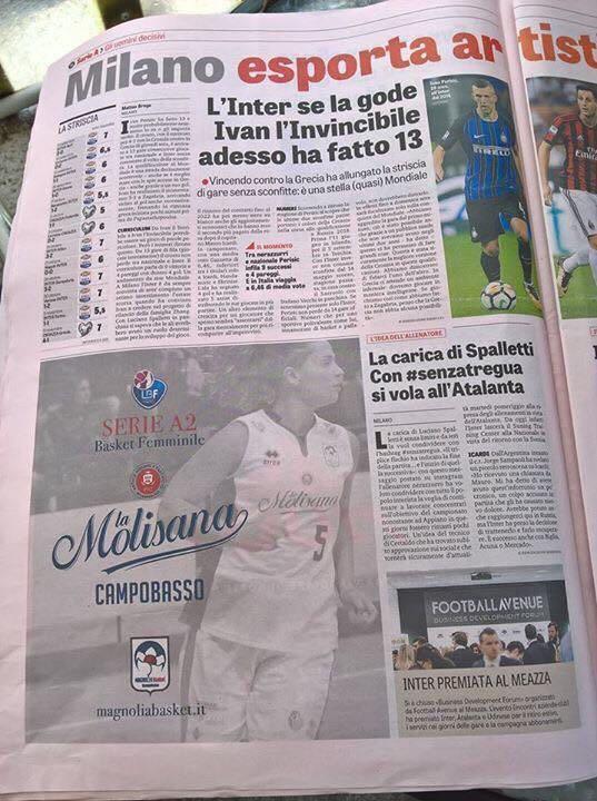 """La Magnolia basket sulla Gazzetta dello Sport grazie a """"La Molisana"""""""