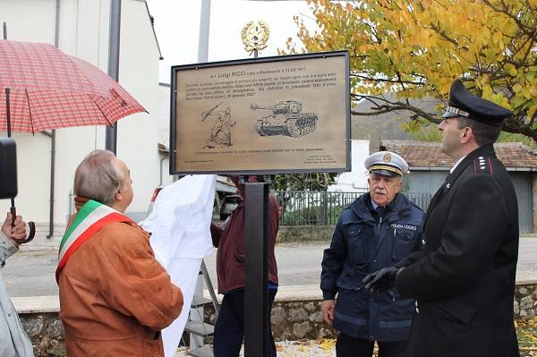 Caduto eroicamente in guerra nel '43, inaugurata stele in onore di Luigi Ricci