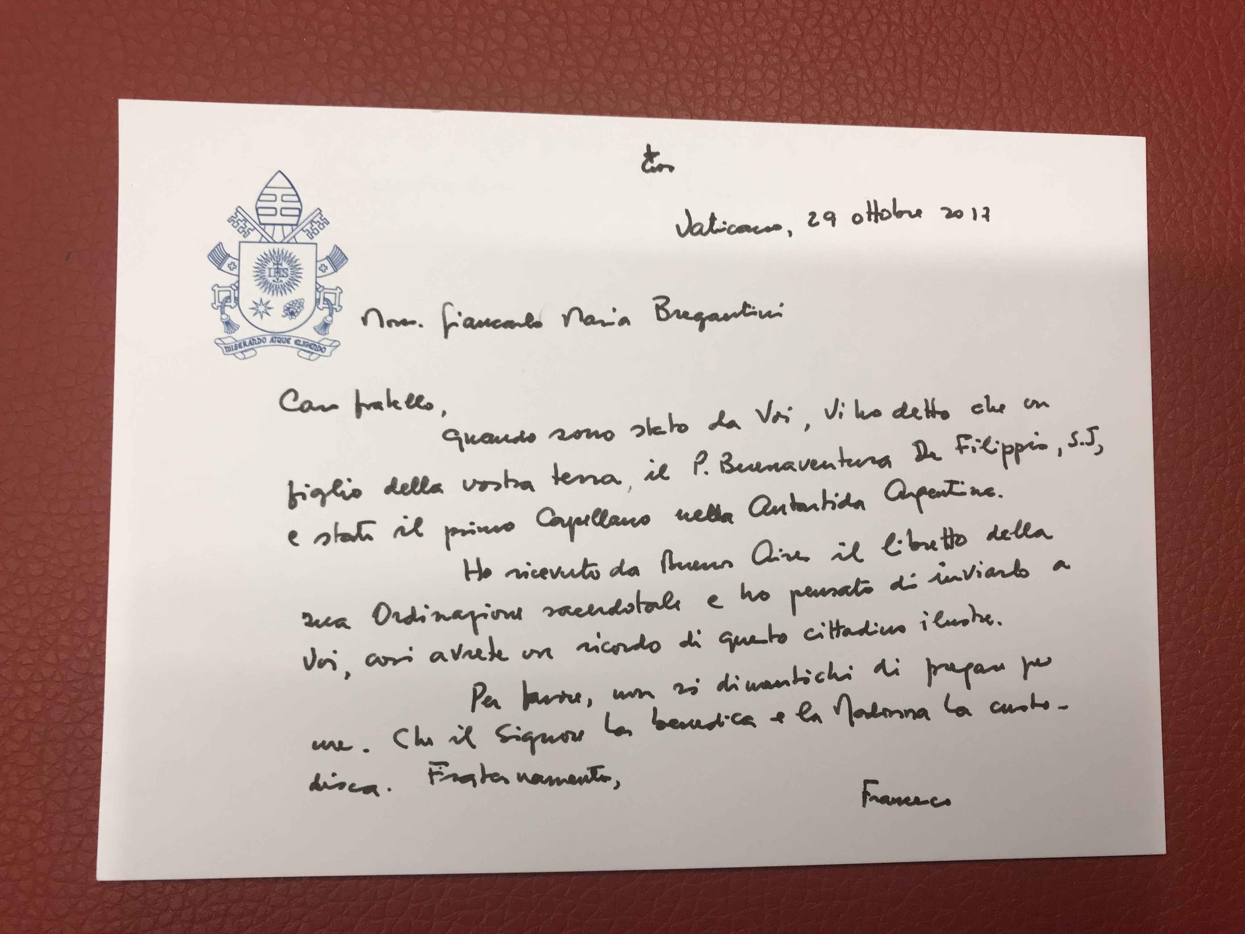 Papa Francesco ricorda Bonaventura De Filippis in una lettera a Monsignor Bregantini