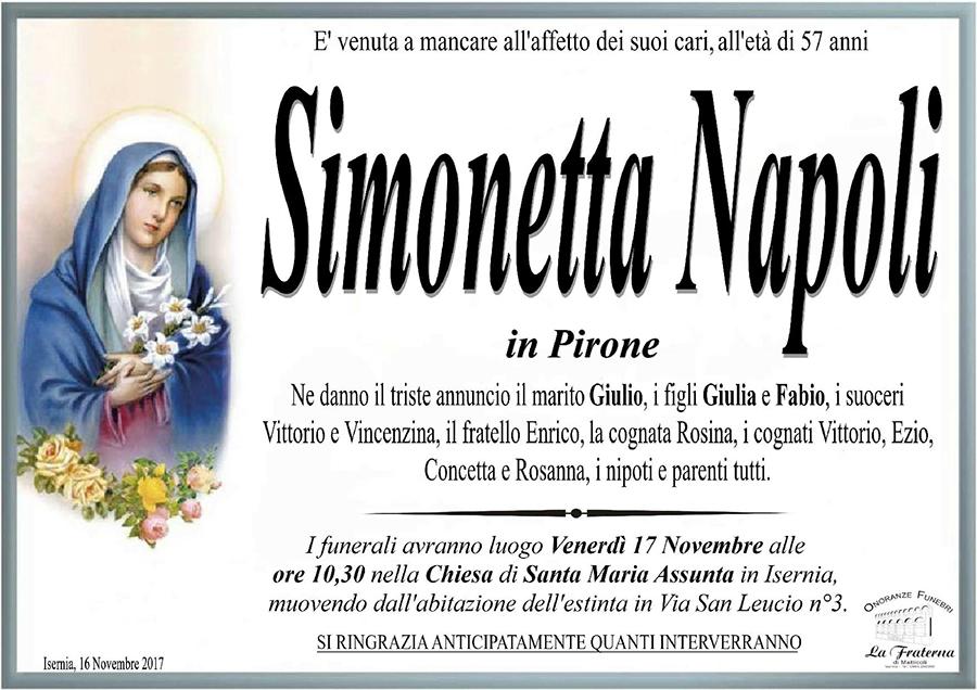 Simonetta Napoli – 16/11/2017 – Isernia – Onoranze funebri La Fraterna