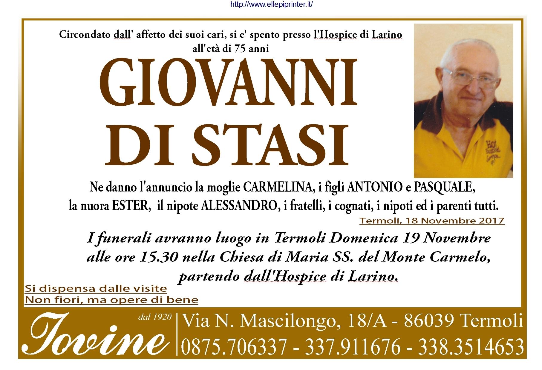 Giovanni Di Stasi, 18/11/2017, Termoli – Onoranze Funebri Iovine