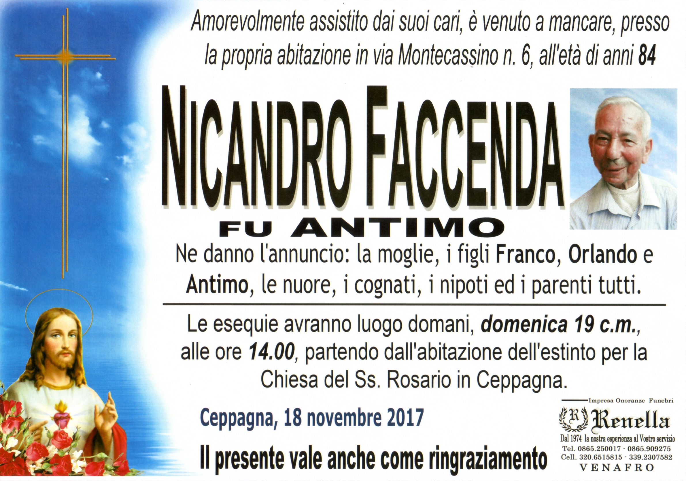 Nicandro Faccenda, 18/11/2017, Ceppagna – Onoranze Funebri Renella