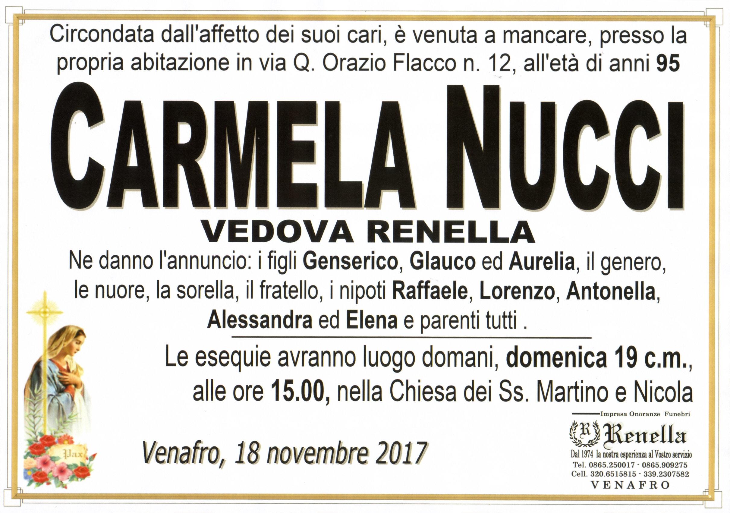 Carmela Nucci, 18/11/2017, Venafro – Onoranze Funebri Renella