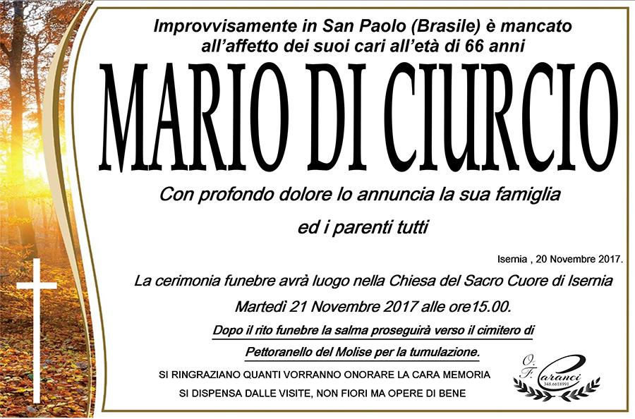 Mario Di Ciurcio – 20/11/2017 – Isernia – Onoranze funebri Caranci