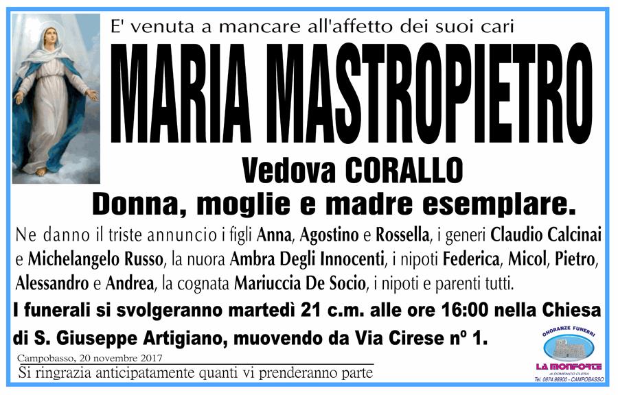 Maria Mastropietro – 20/11/2017 – Campobasso – Onoranze funebri La Monforte