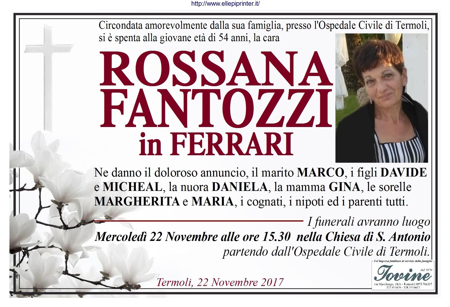 Rossana Fantozzi, 22/11/2017, Termoli – Onoranze Funebri Iovine