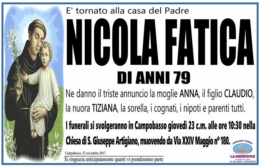 Nicola Fatica – 22/11/2017 – Campobasso – Onoranze funebri La Monforte