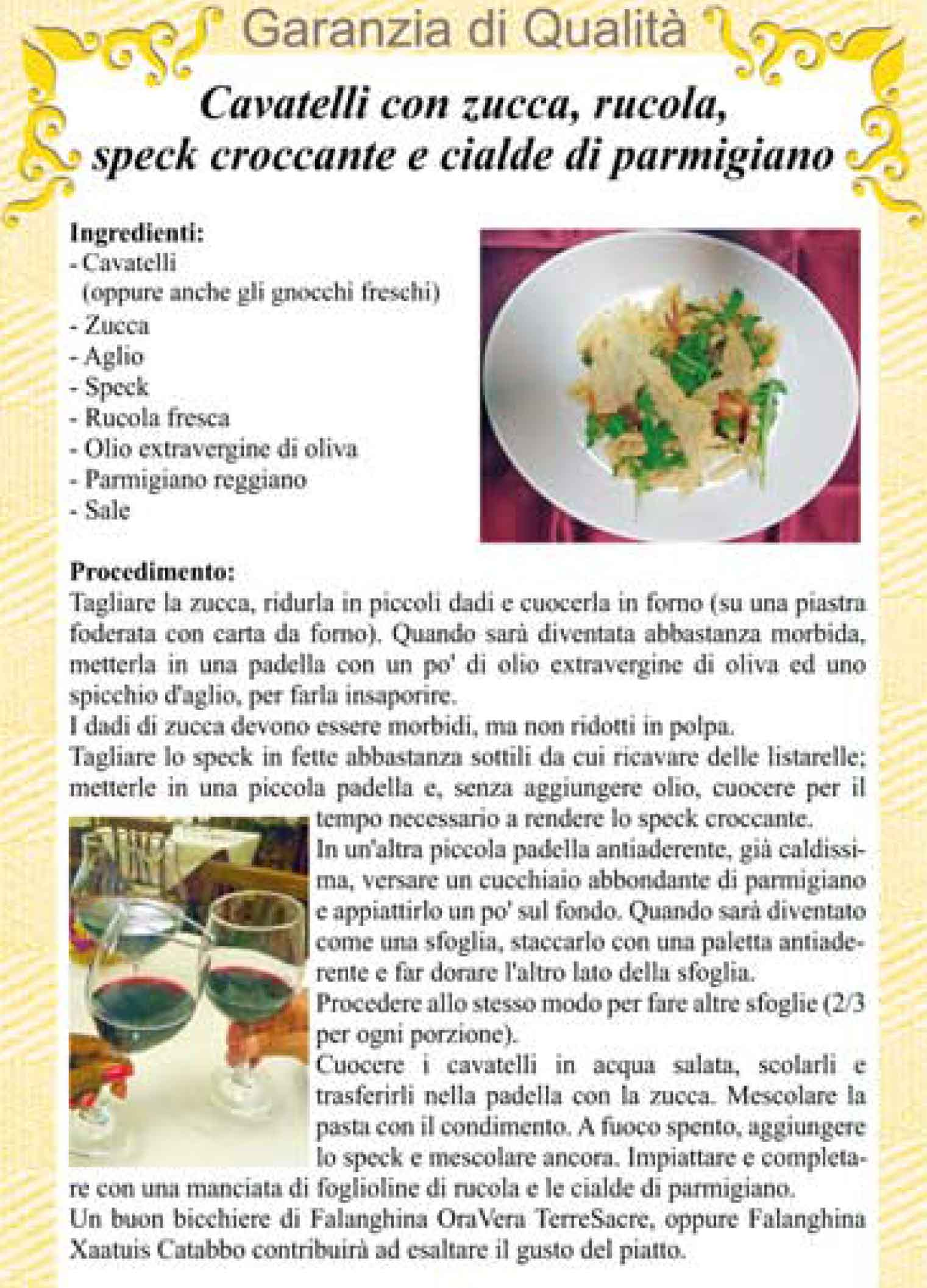 OSPITALITA' MOLISANA – Cavatelli con zucca, rucola, speck croccante e cialde di parmigiano