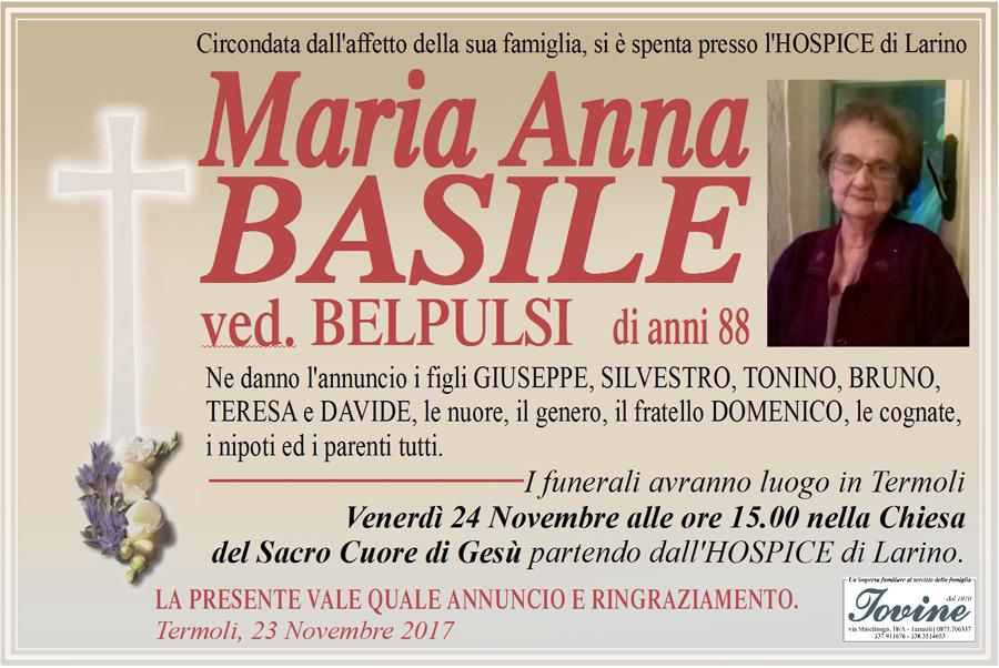 Maria Anna Basile – 23/11/2017 – Termoli – Onoranze funebri Iovine