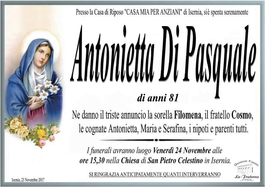 Antonietta Di Pasquale – 23/11/2017 – Isernia – Onoranze funebri La Fraterna