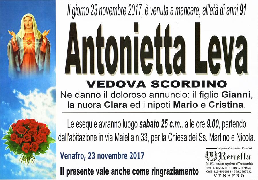 Antonietta Leva – 23/11/2017 – Venafro – Onoranze funebri Renella