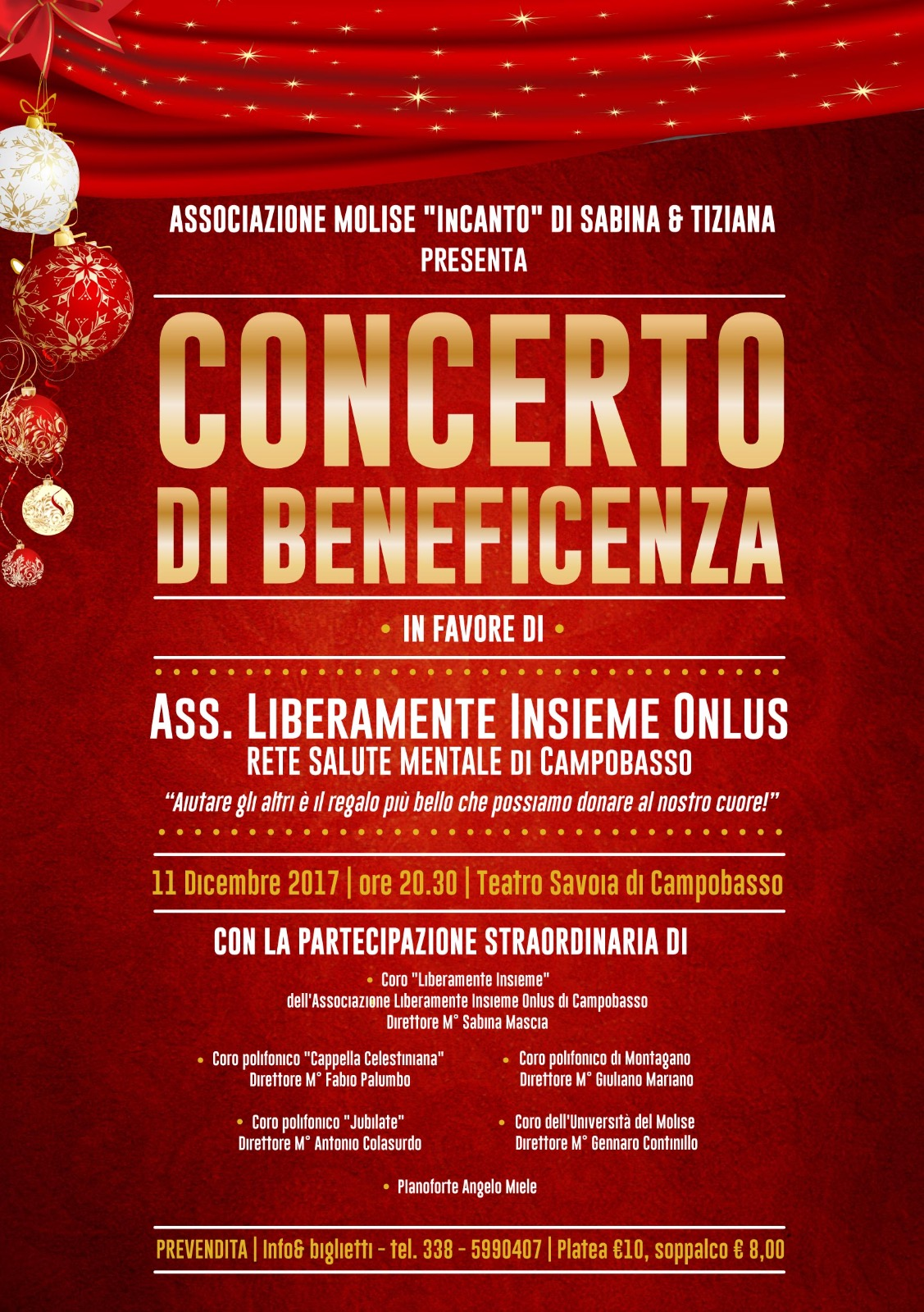 Concerto di beneficenza al Savoia in favore dell'associazione 'Liberamente Insieme'