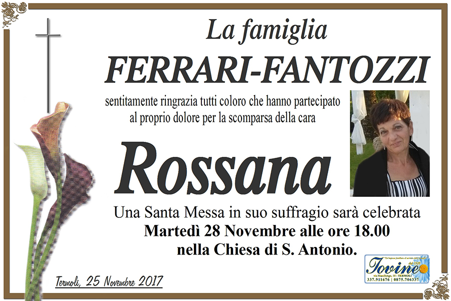 Ringraziamento Famiglia Ferrari-Fantozzi – Termoli