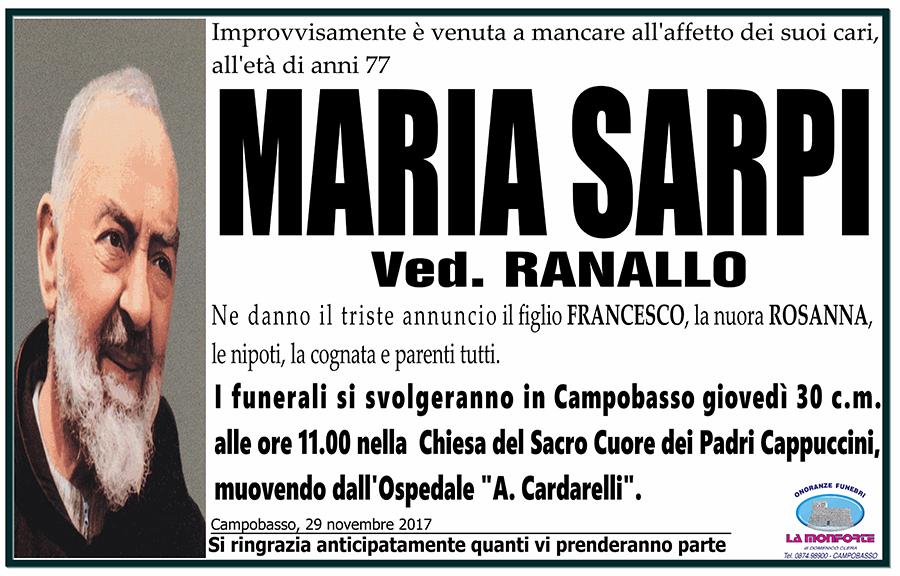 Maria Sarpi – 29/11/2017 – Campobasso – Onoranze funebri La Monforte