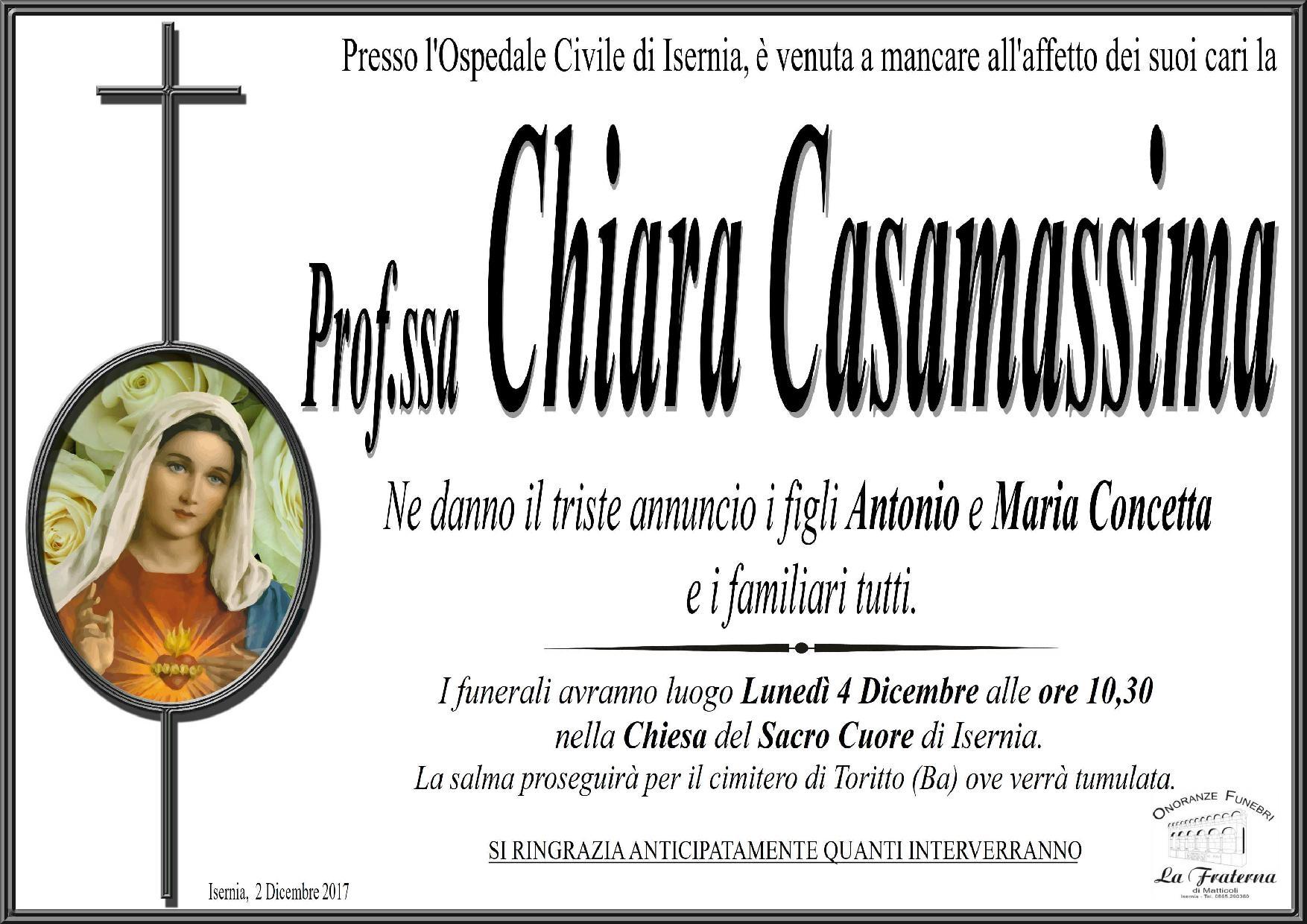 Chiara Casamassima – 2/12/2017 – Isernia – Onoranze Funebri La Fraterna
