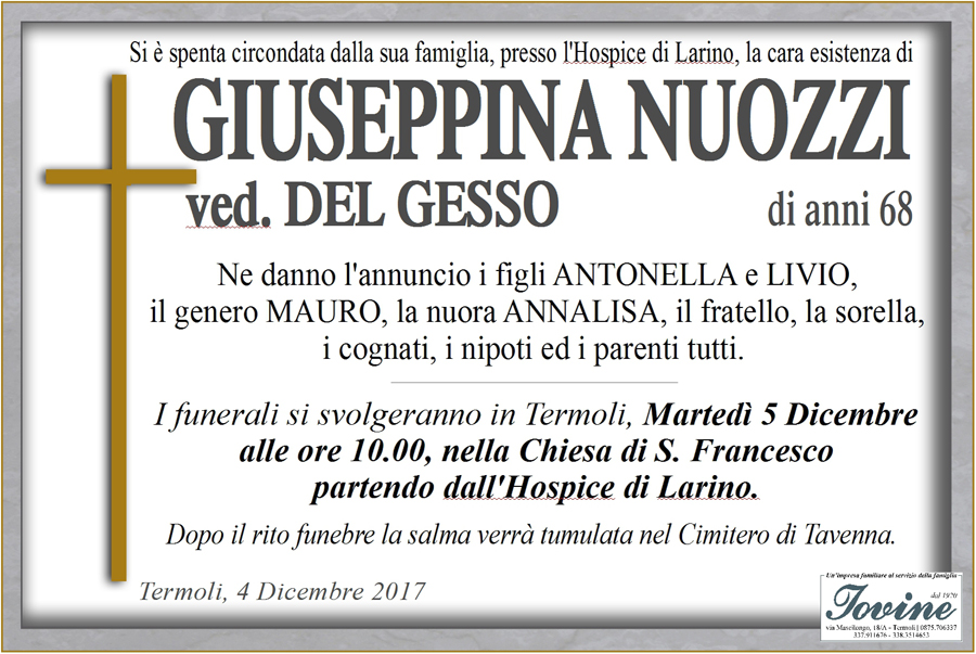 Giuseppina Nuozzi – 04/12/2017 – Termoli – Onoranze funebri Iovine