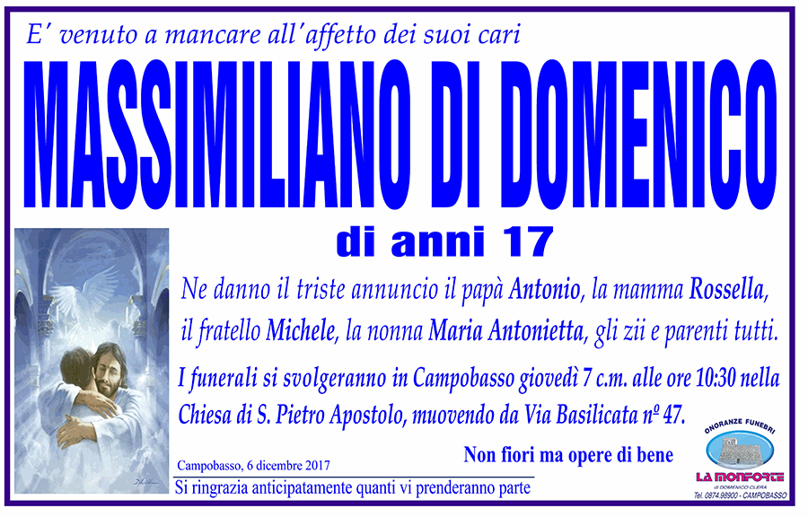 Massimiliano Di Domenico – 06/12/2017 – Campobasso – Onoranze funebri La Monforte