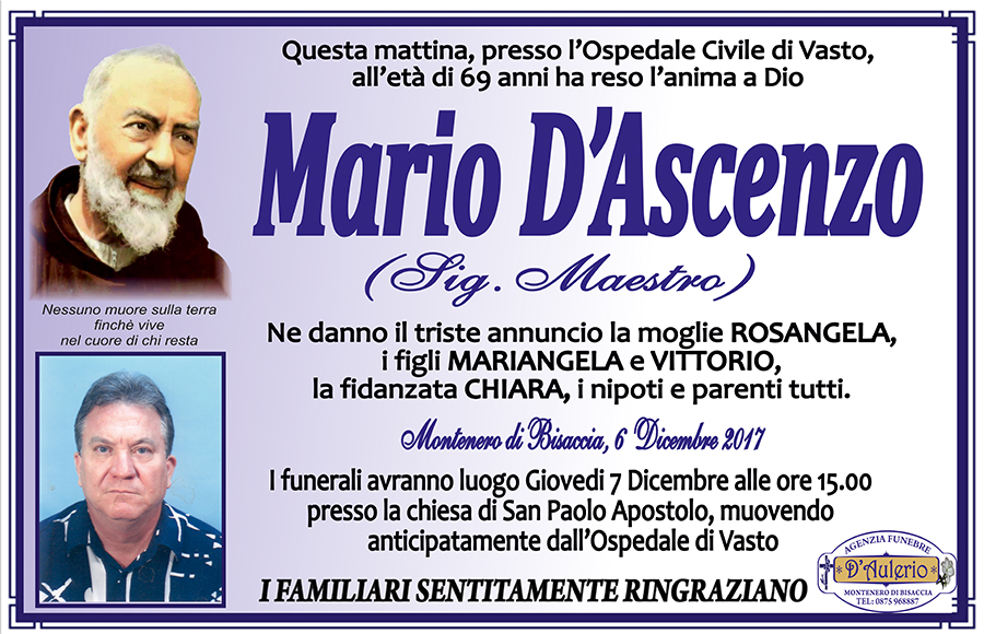 Mario D'Ascenzo – 06/12/2017 – Montenero di Bisaccia (CB) – Agenzia funebre D'Aulerio