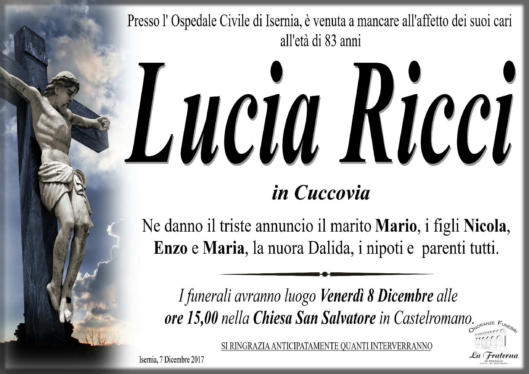 Lucia Ricci, 7/12/2017, Isernia – Onoranze Funebri La Fraterna