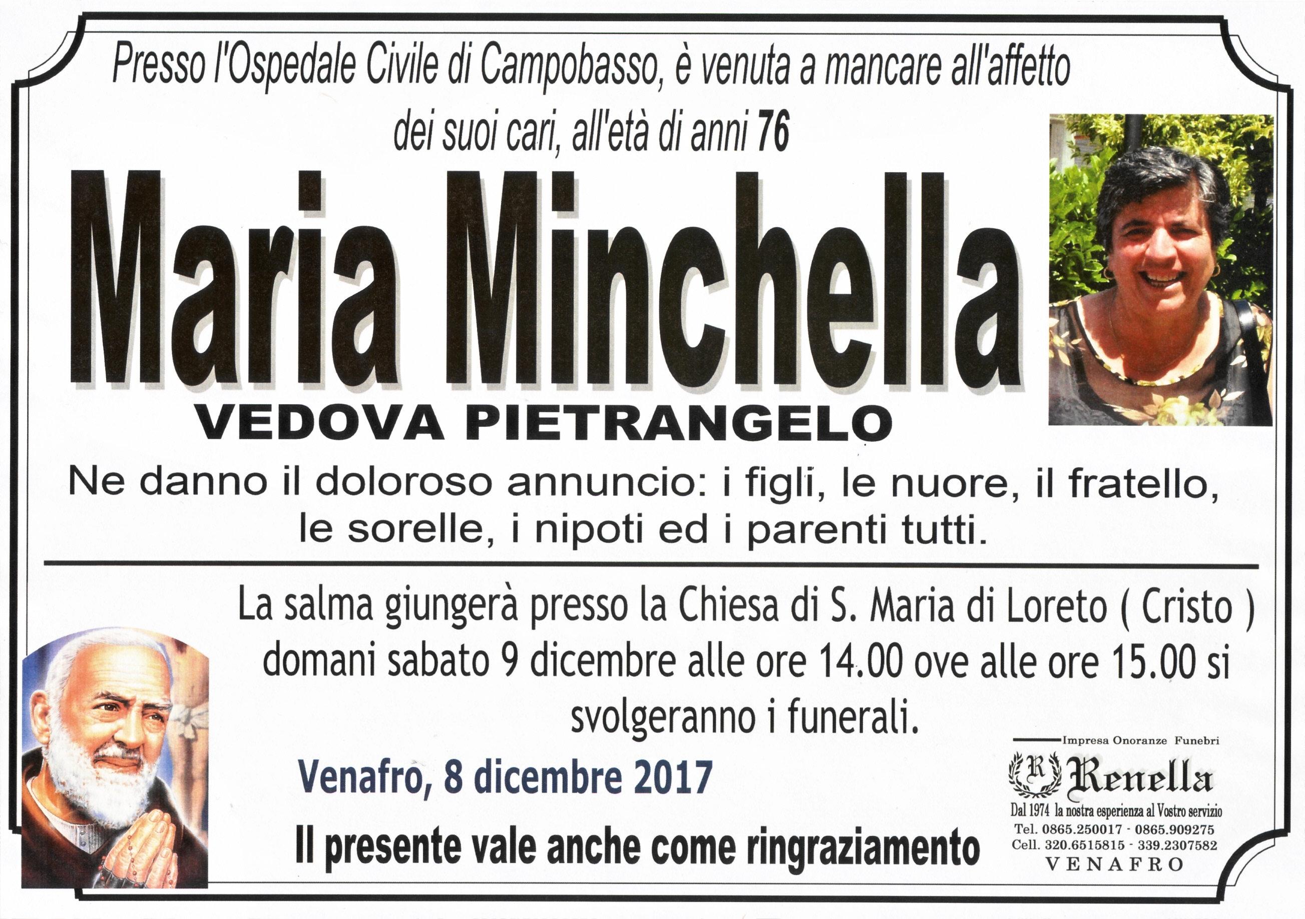 Maria Minchella, 8/12/2017, Venafro – Onoranze Funebri Renella