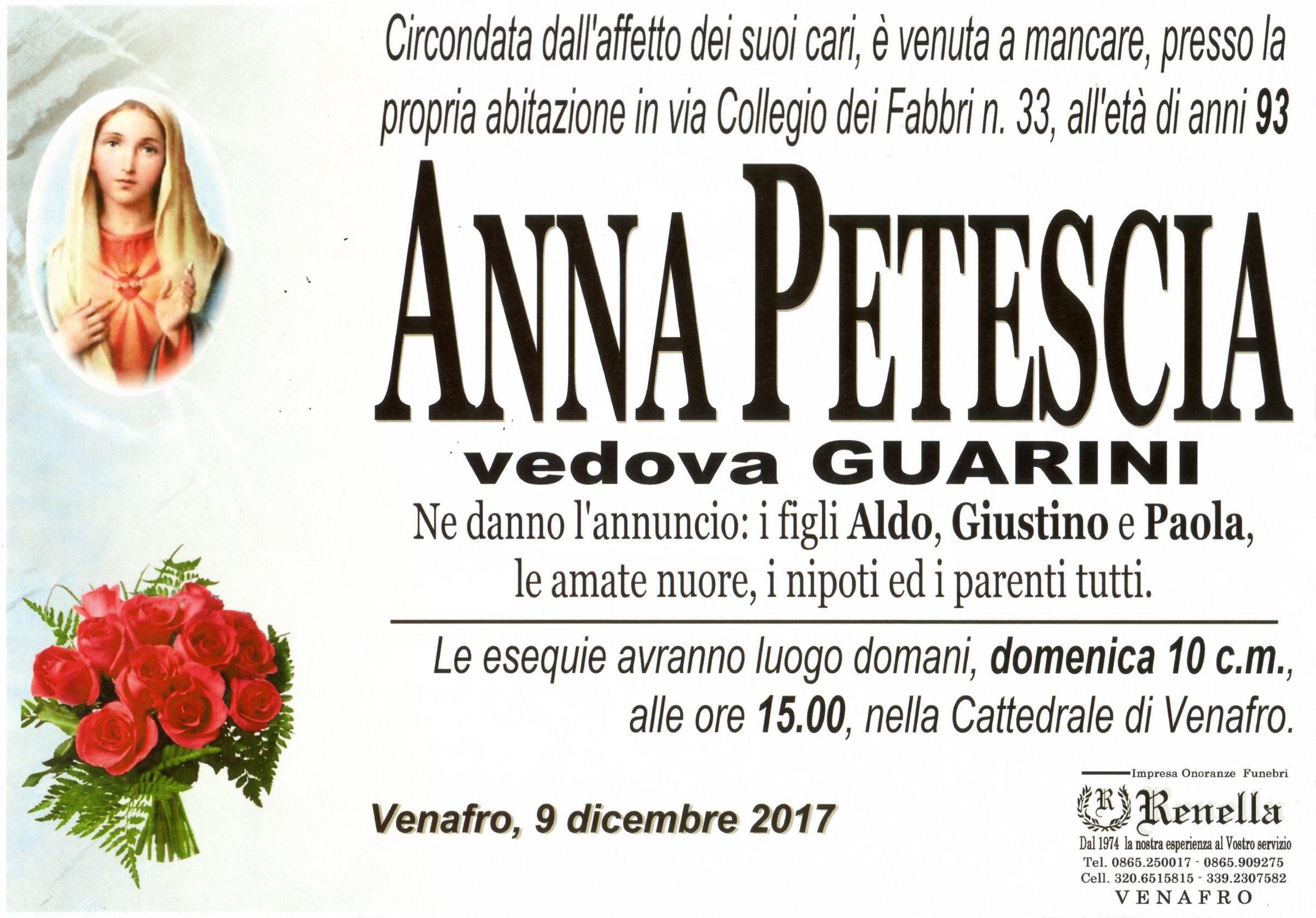 Anna Petescia, 9/12/2017, Venafro – Onoranze Funebri Renella