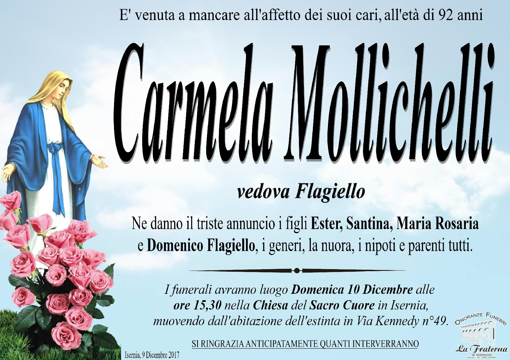 Carmela Mollichelli, 9/12/2017, Isernia – Onoranze Funebri La Fraterna