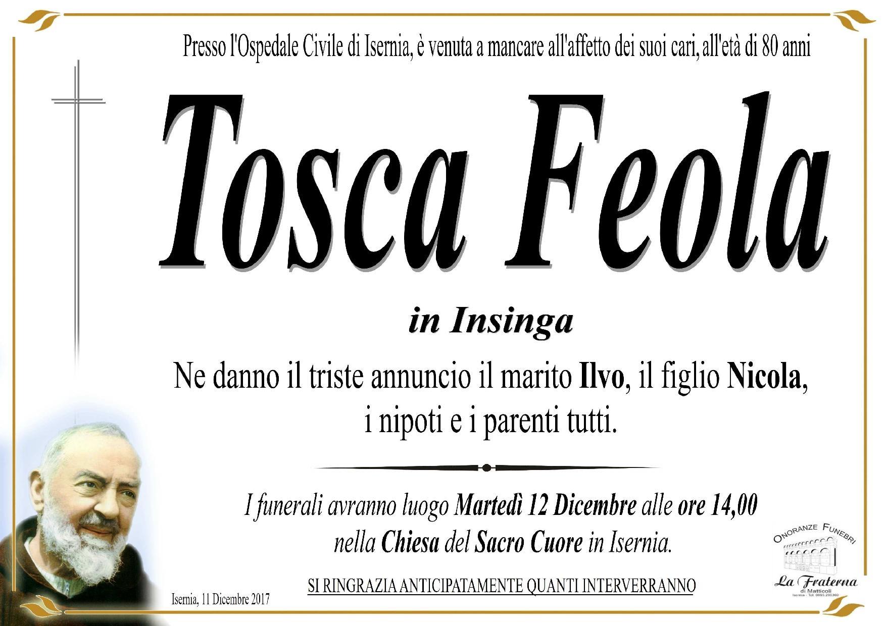 Tosca Feola, 11/12/2017, Isernia – Onoranze Funebri La Fraterna