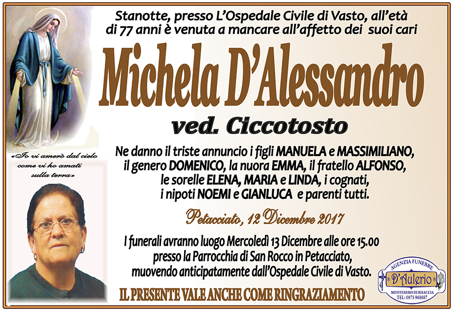 Michela D'Alessandro – 12/12/2017 – Petacciato (CB) – Agenzia funebre D'Aulerio