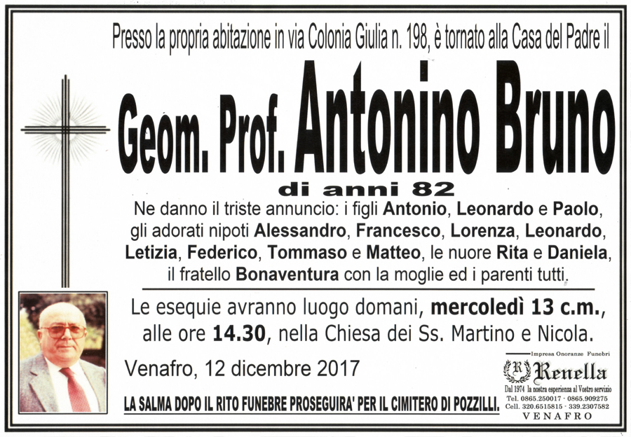 Antonino Bruno – 12/12/2017 – Venafro (IS) – Onoranze funebri Renella