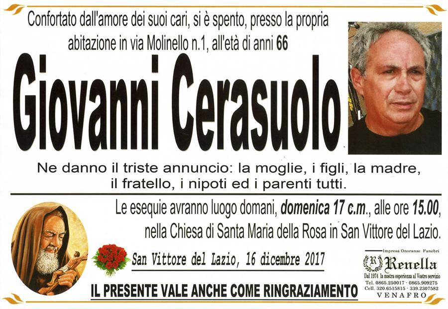 Giovanni Cerasuolo – 16/12/2017 – San Vittore del Lazio (FR) – Impresa onoranze funebri Renella