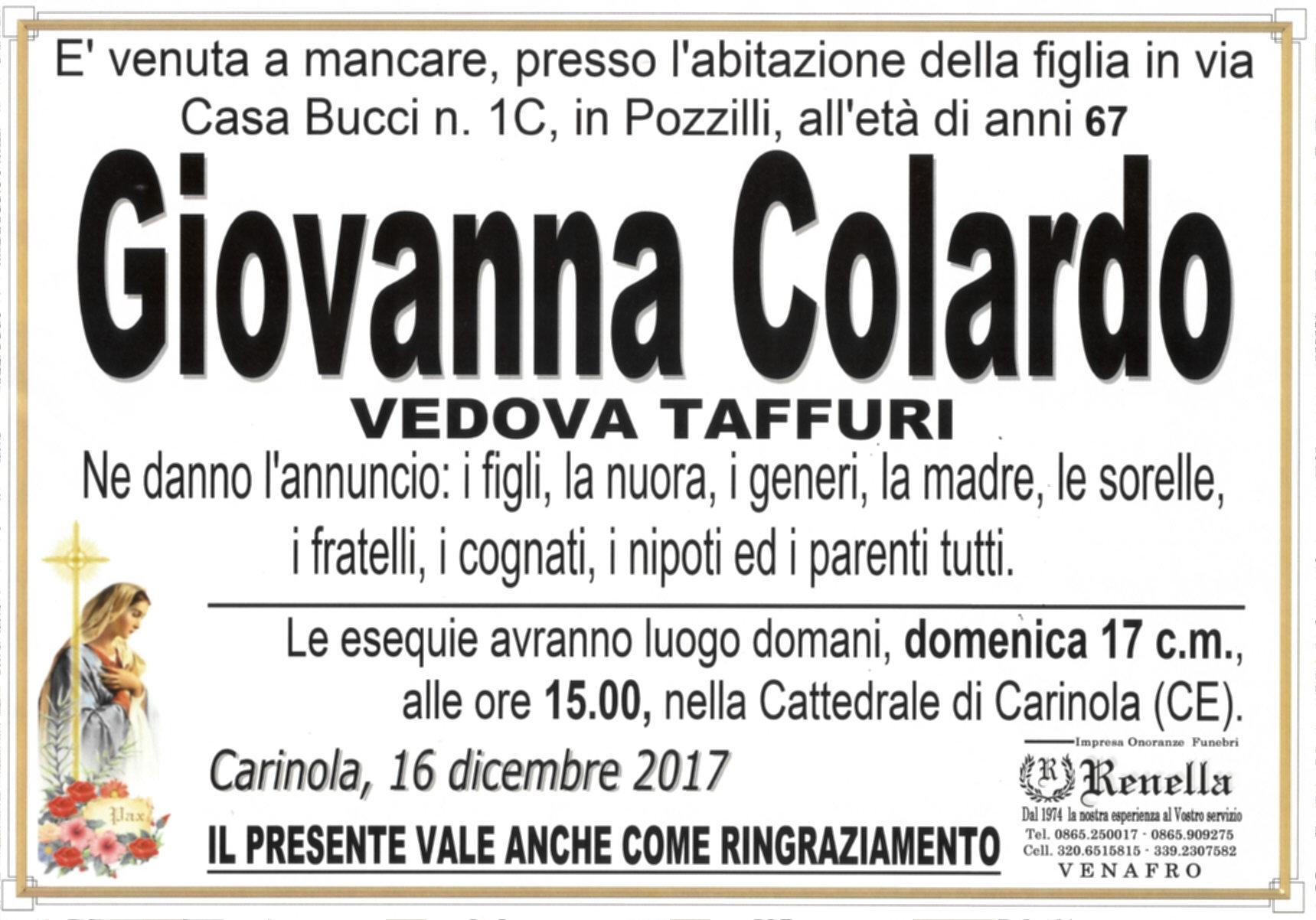 Giovanna Colardo, 16/12/2017, Carinola (CE) – Onoranze Funebri Renella (Venafro)