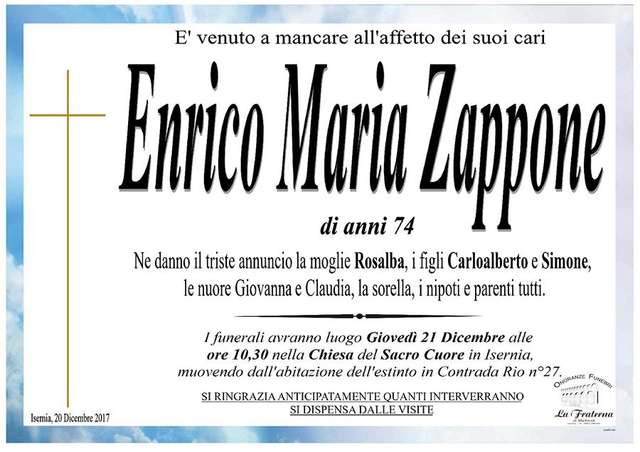 Enrico Maria Zappone – 20/12/2017 – Isernia – Onoranze funebri La Fraterna