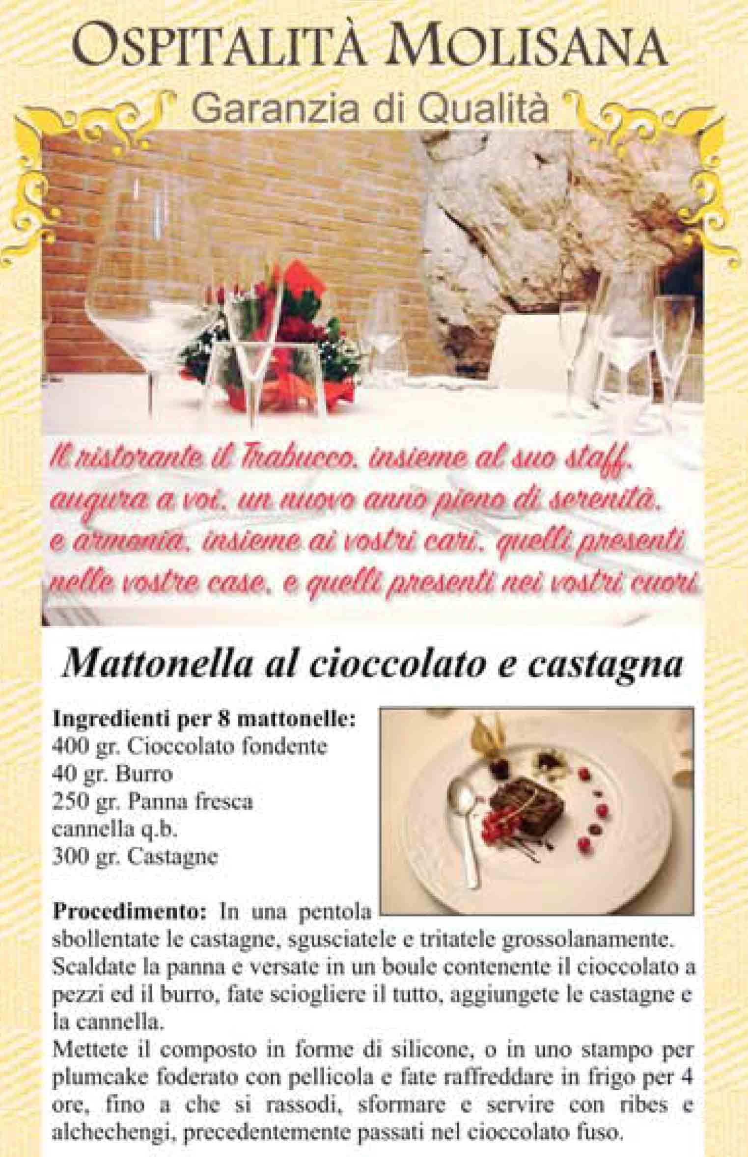 OSPITALITA' MOLISANA – Mattonella al cioccolato e castagna