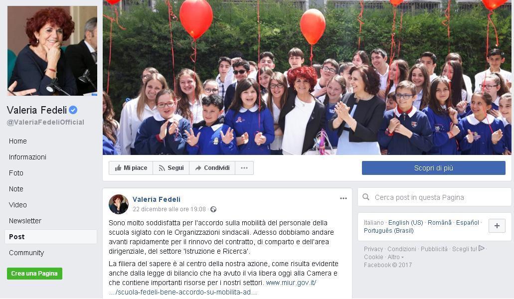 La Ministra Fedeli sceglie la visita all'Istituto 'Montini' come immagine di copertina sui social