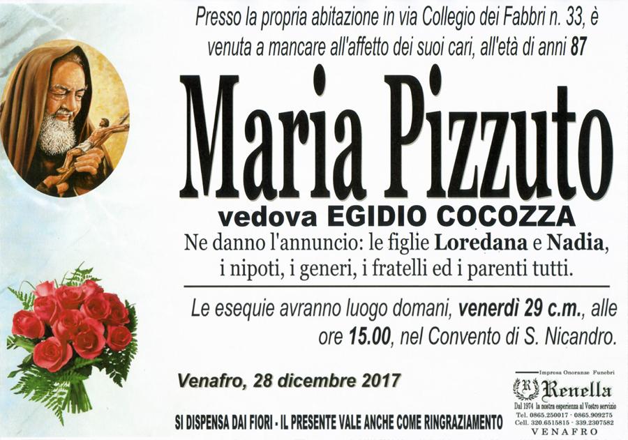 Maria Pizzuto – 28/12/2017 – Venafro – Impresa onoranze funebri Renella