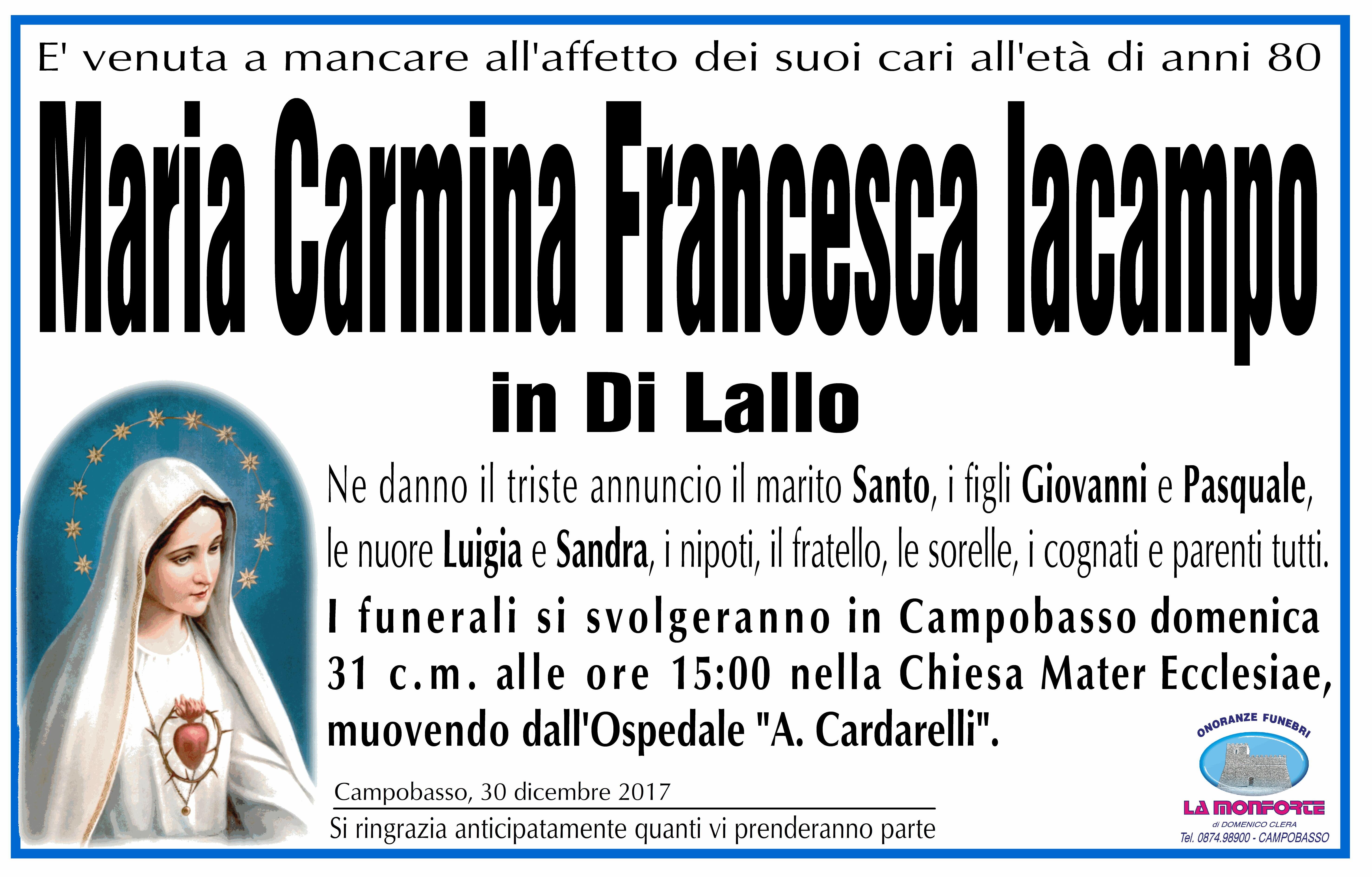 Maria Carmina Francesca Iacampo, 30/12/2017, Campobasso – Onoranze Funebri La Monforte