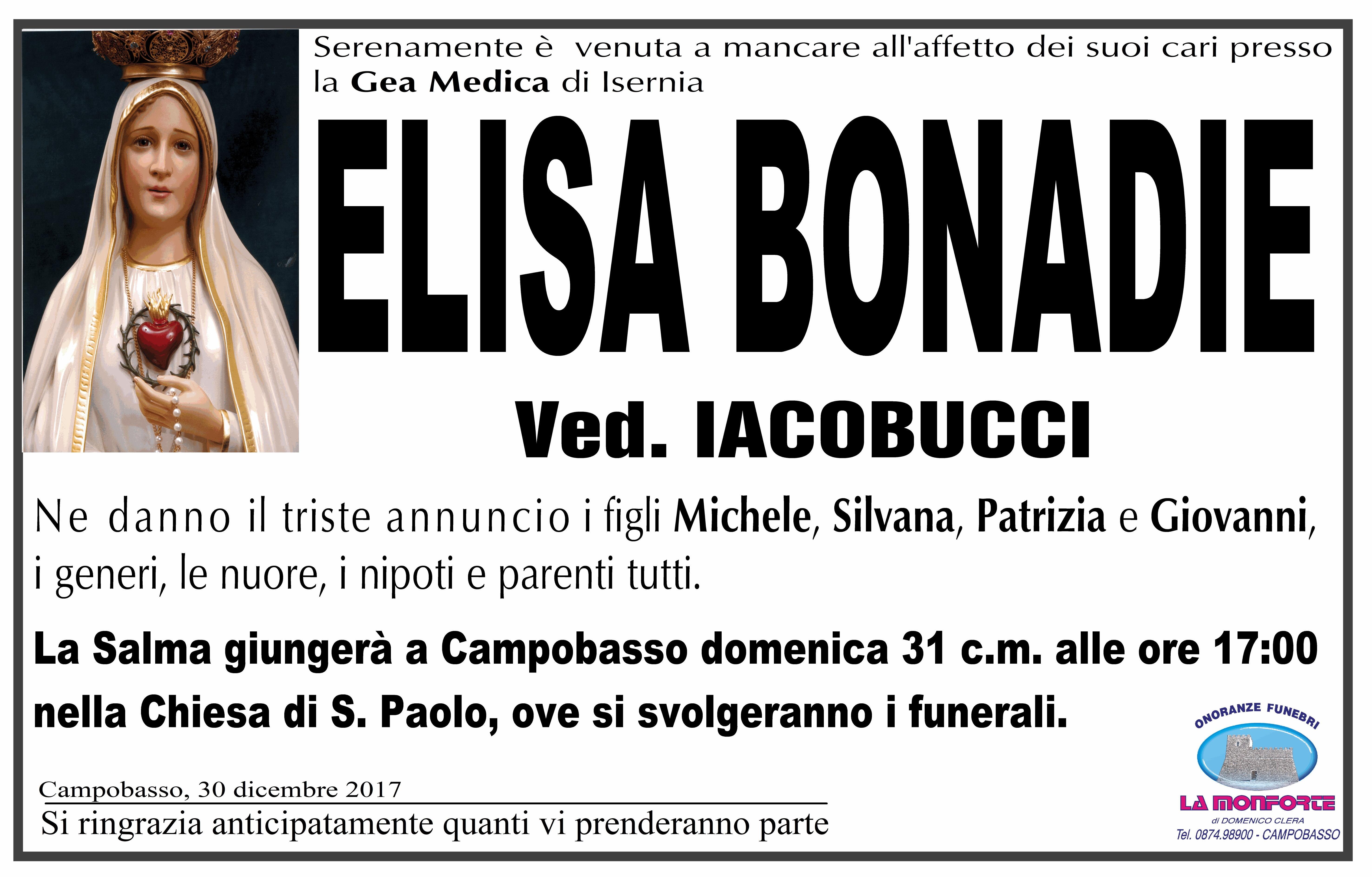 Elisa Bonadie, 30/12/2017, Campobasso – Onoranze Funebri La Monforte