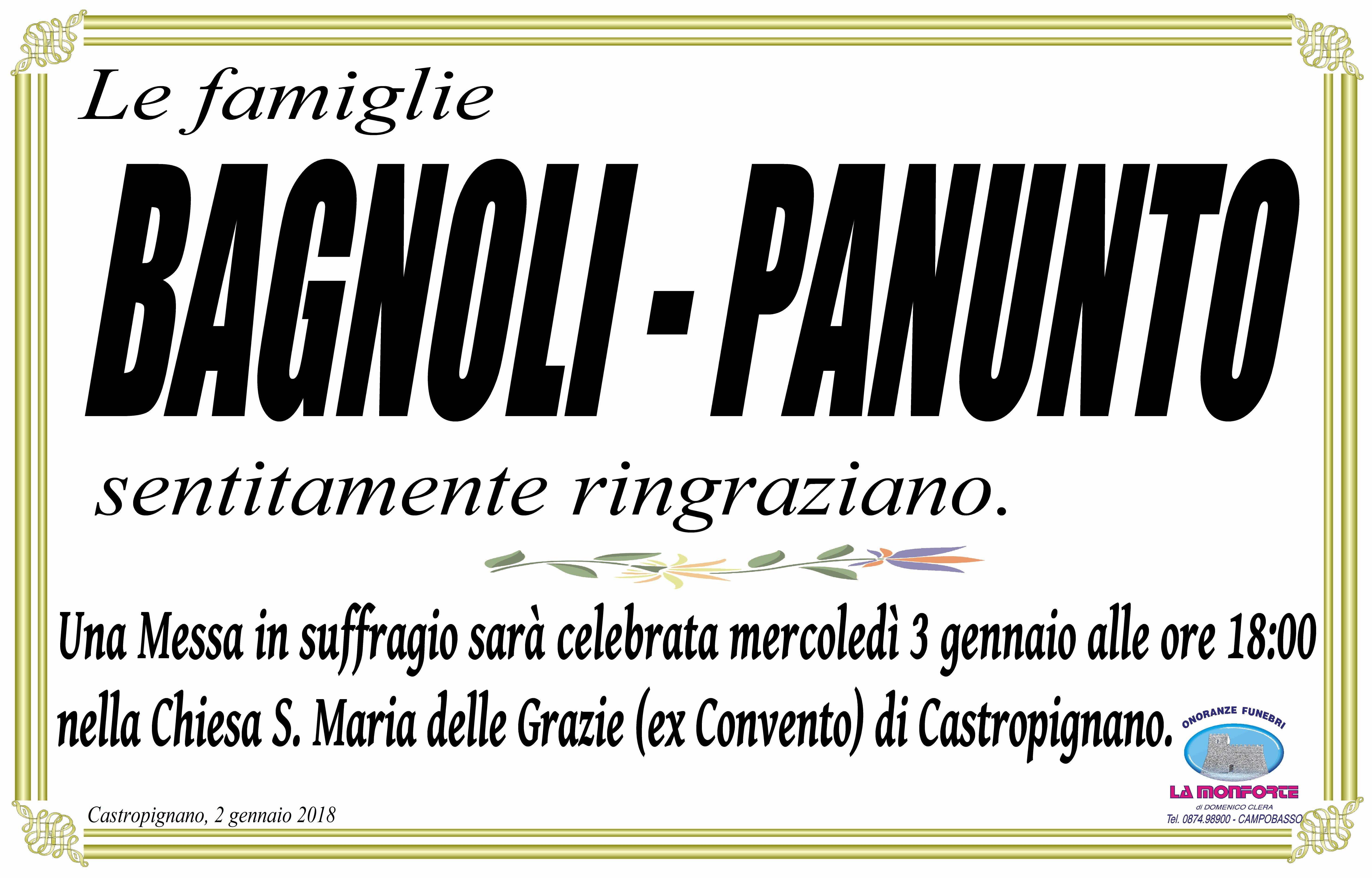 Ringraziamento Famiglie Bagnoli, Panunto – Castropignano (CB)