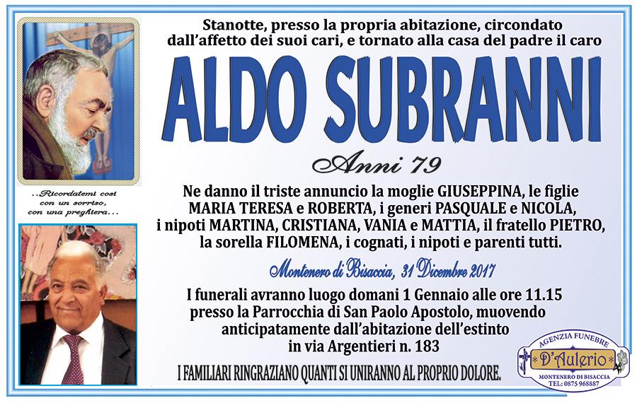 Aldo Subranni – 31/12/2017 – Montenero di Bisaccia (CB) – Agenzia funebre D'Aulerio