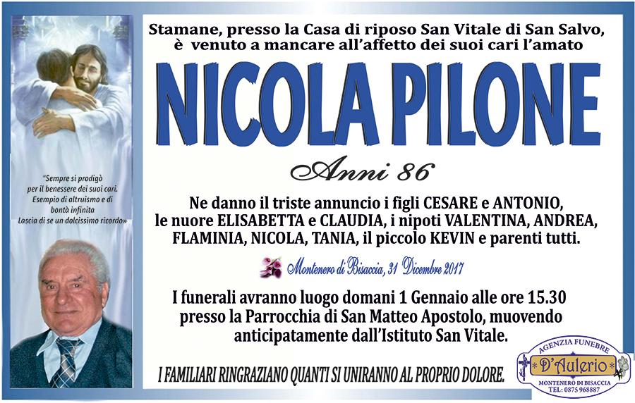 Nicola Pilone – 31/12/2017 – Montenero di Bisaccia (CB) – Agenzia funebre D'Aulerio