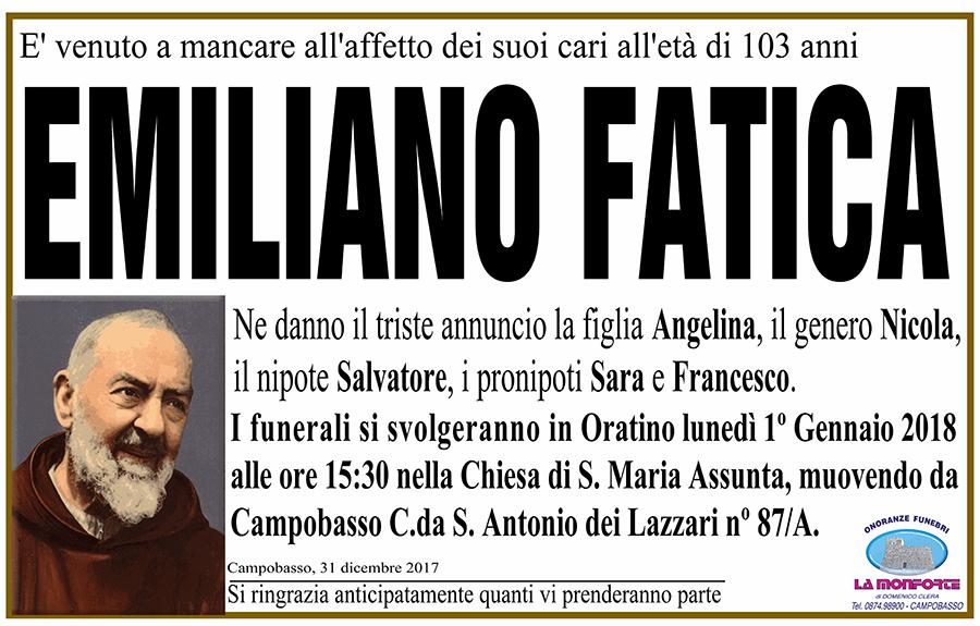 Emiliano Fatica – 31/12/2017 – Campobasso – Onoranze funebri La Monforte