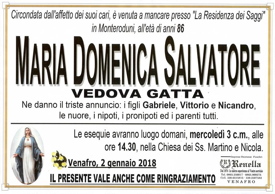 Maria Domenica Salvatore – 02/01/2018 – Venafro – Impresa onoranze funebri Renella