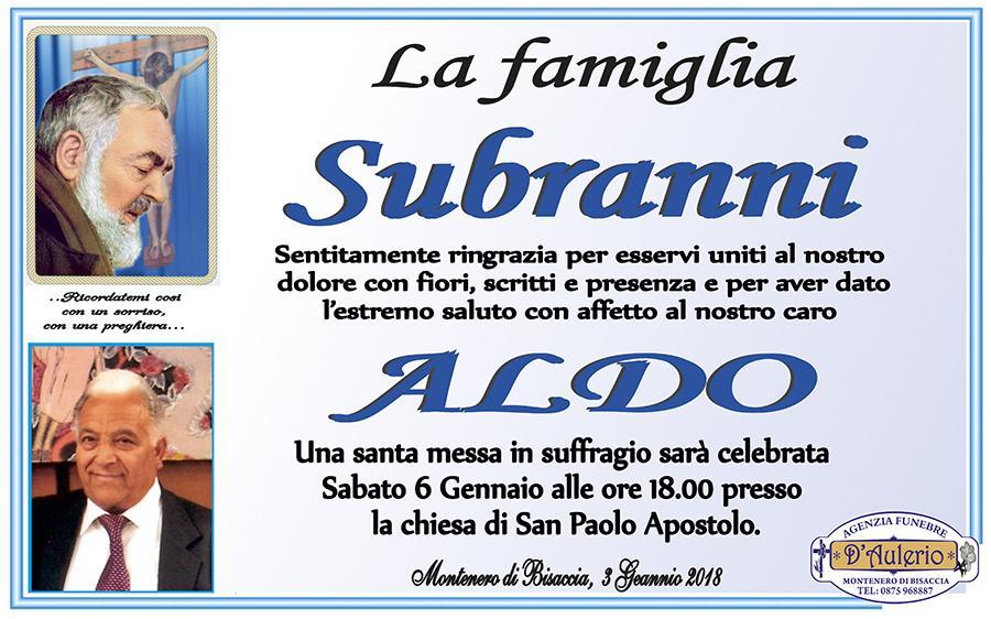 Ringraziamento Famiglia Subranni – Montenero di Bisaccia (CB)