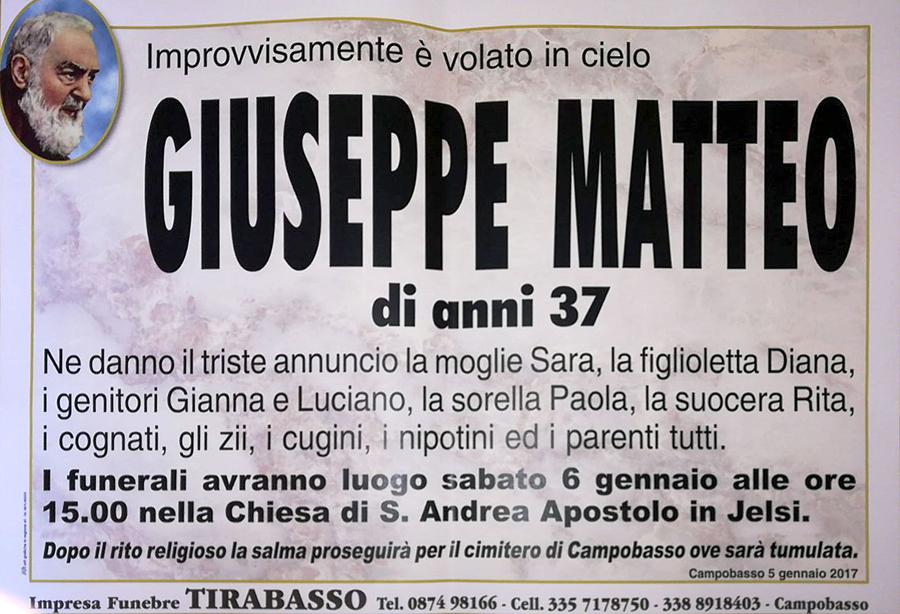 Giuseppe Matteo – 05/01/2018 – Campobasso – Impresa funebre Tirabasso