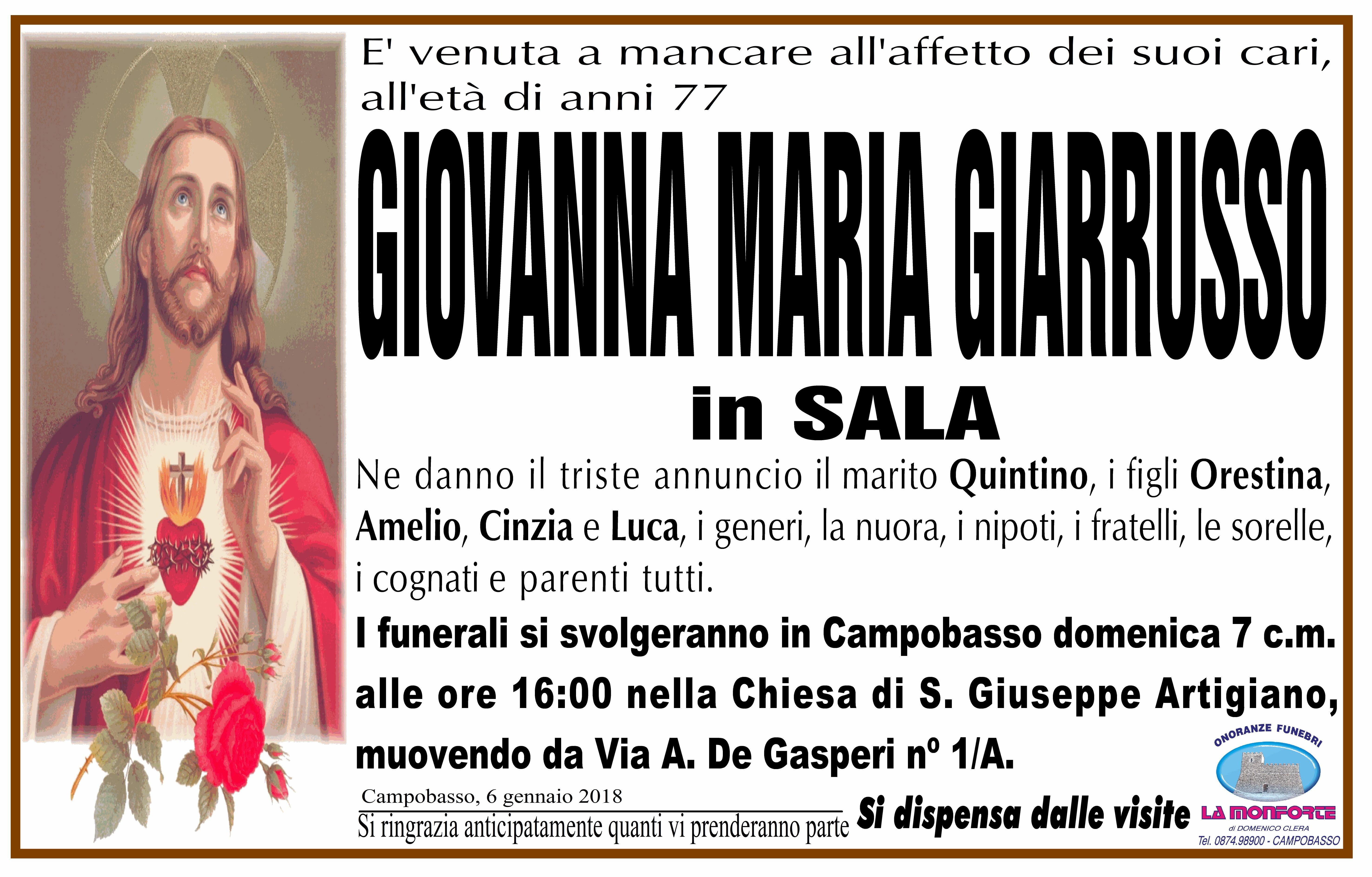 Giovanna Maria Giarrusso, 6/12/2018, Campobasso – Onoranze Funebri La Monforte