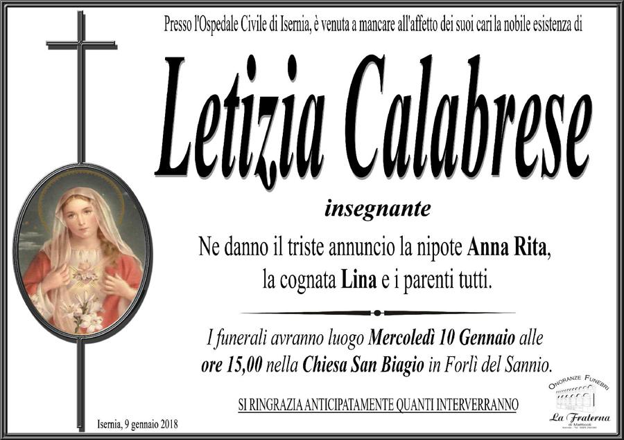 Letizia Calabrese – 09/01/2018 – Isernia – Onoranze funebri La Fraterna