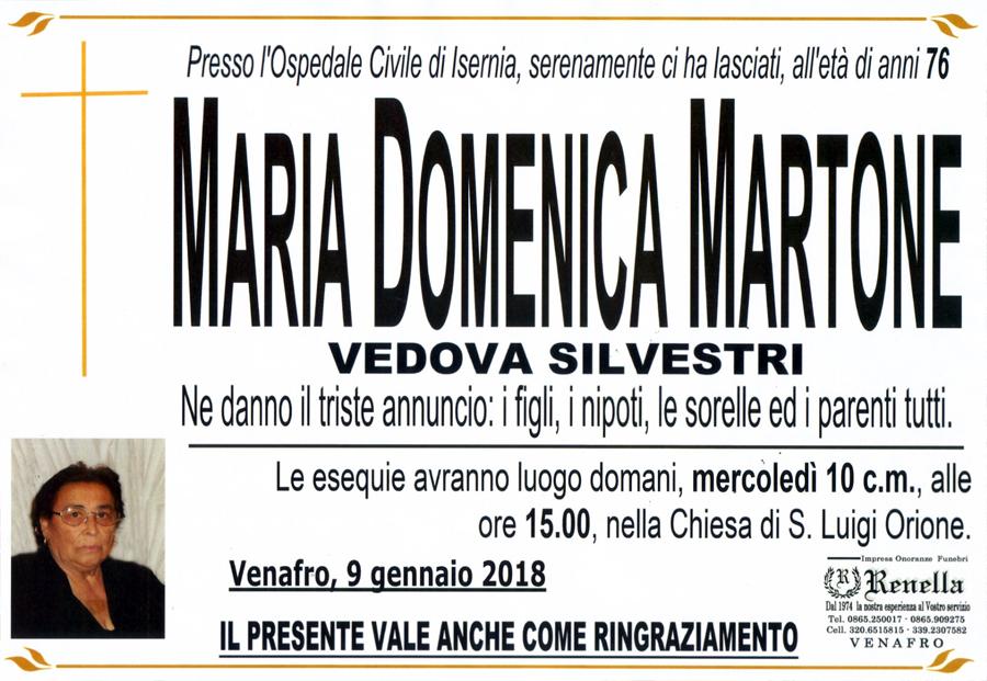 Maria Domenica Martone – 09/01/2018 – Venafro – Impresa onoranze funebri Renella