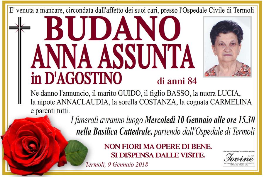 Anna Assunta Budano – 09/01/2018 – Termoli – Onoranze funebri Iovine