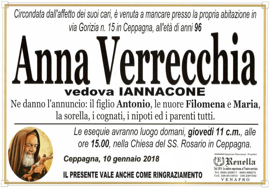 Anna Verrecchia – 10/01/2018 – Ceppagna (IS) – Impresa onoranze funebri Renella